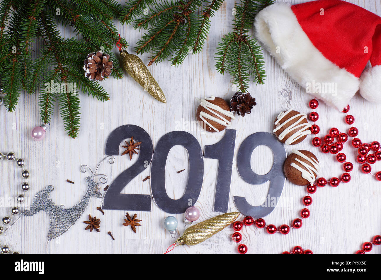 Figures 2019, Cookies And Christmas Decorations With A