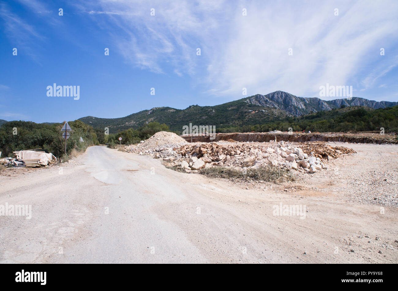The Bar-Boljare motorway in Montenegro, build by China Road and Bridge Corporation (CRBC), represents the Montenegrin part of the Bar-Belgrade motorwa Stock Photo