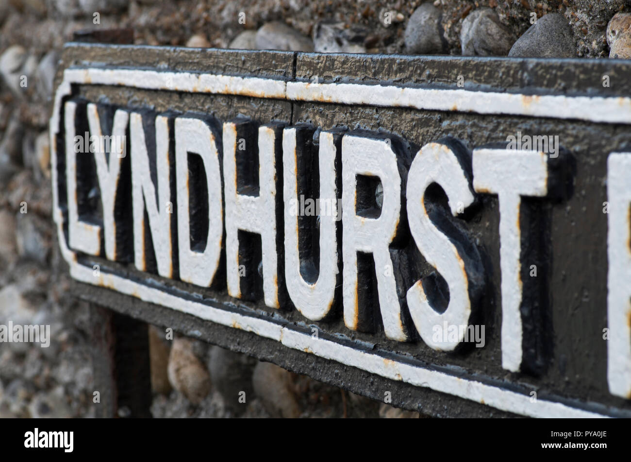 Traditional cast iron street name sign. Lyndhurst Road, Worthing, West Sussex UK. - Stock Image