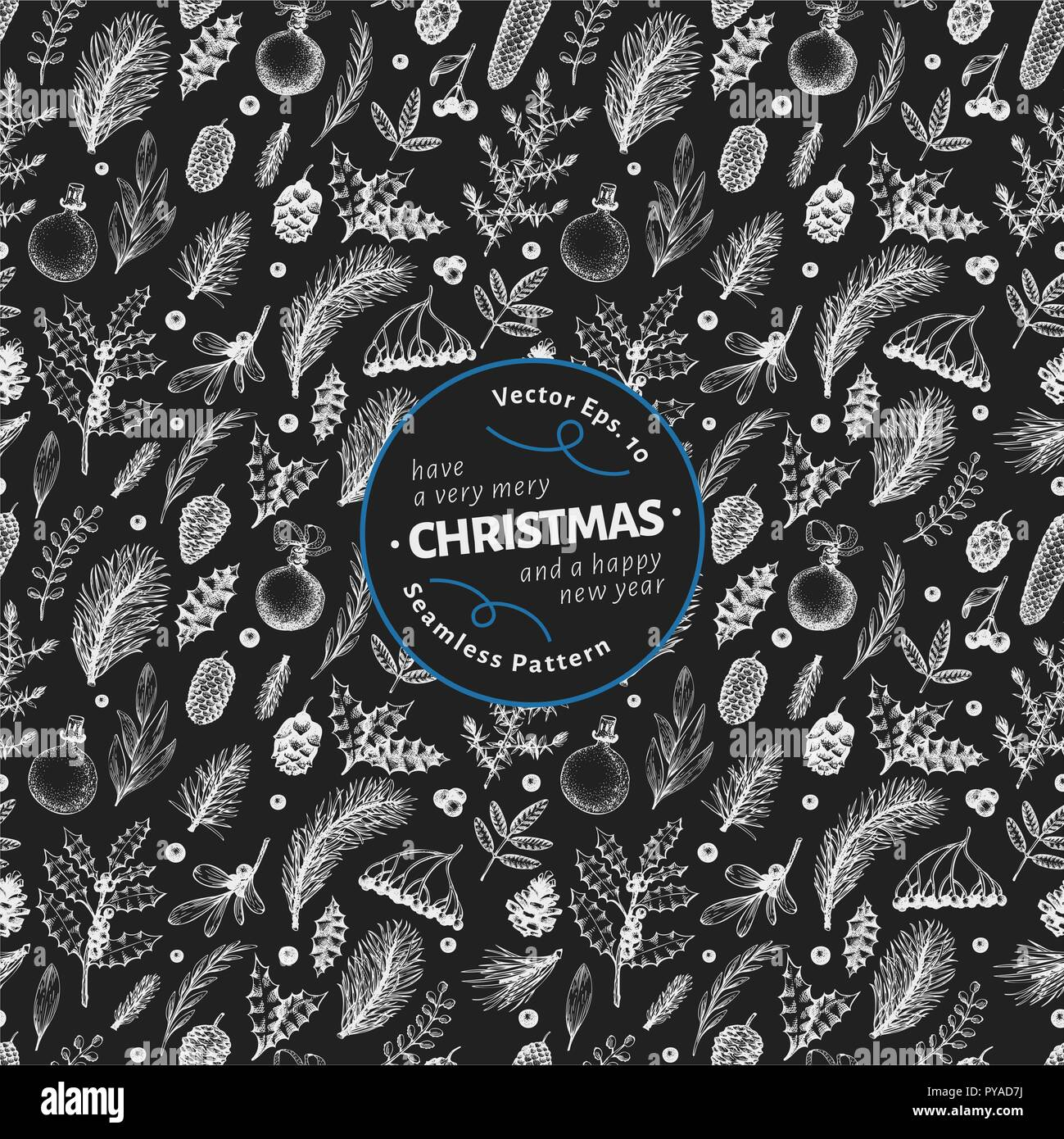 Christmas seamless pattern in retro style. Vector hand drawn illustrations on chalk board. Background with coniferous, pine branches, berries, holly,  - Stock Vector