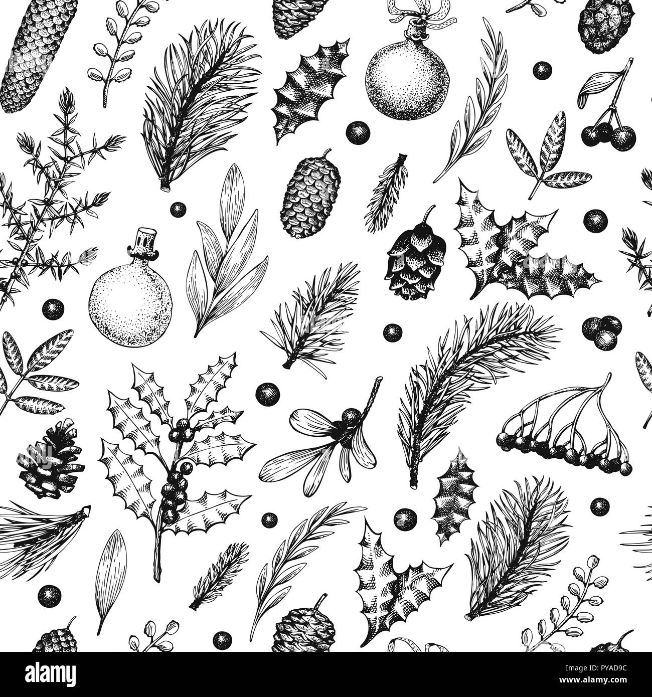 Christmas seamless pattern in retro style. Vector hand drawn illustrations. Background with coniferous, pine branches, berries, holly, mistletoe. Wint - Stock Vector