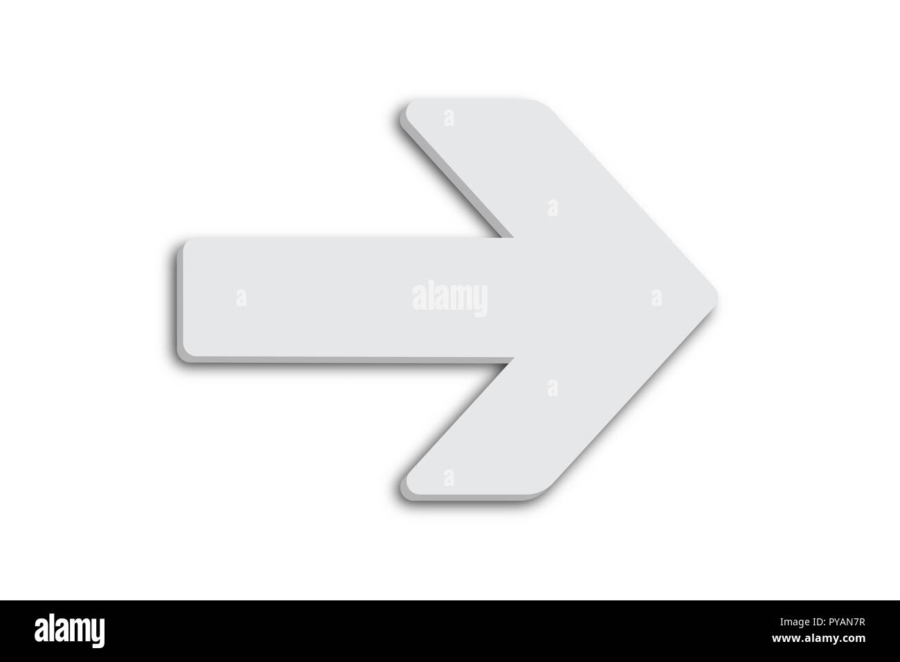 White arrow sign symbol in minimalist white grey color 3D design shape and isolated on simple minimal clean seamless white background. Stock Photo