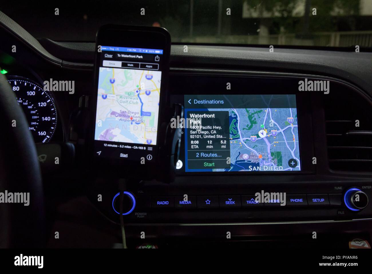 Apple's CarPlay with navigation in a Hyundai, in September 2018