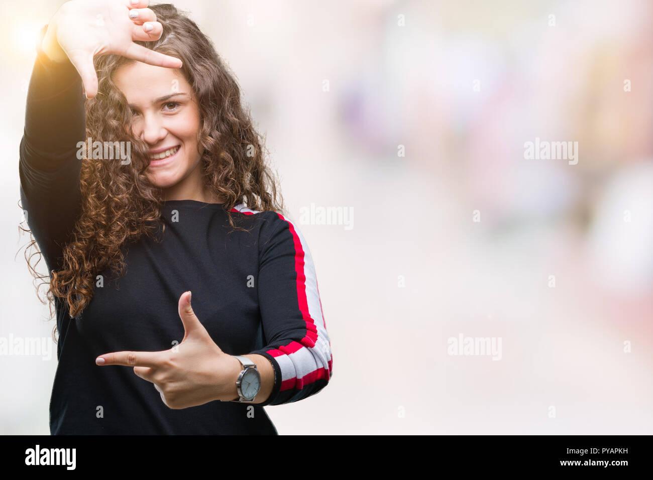Female Brunette Hair Framing Face Stock Photos & Female Brunette ...