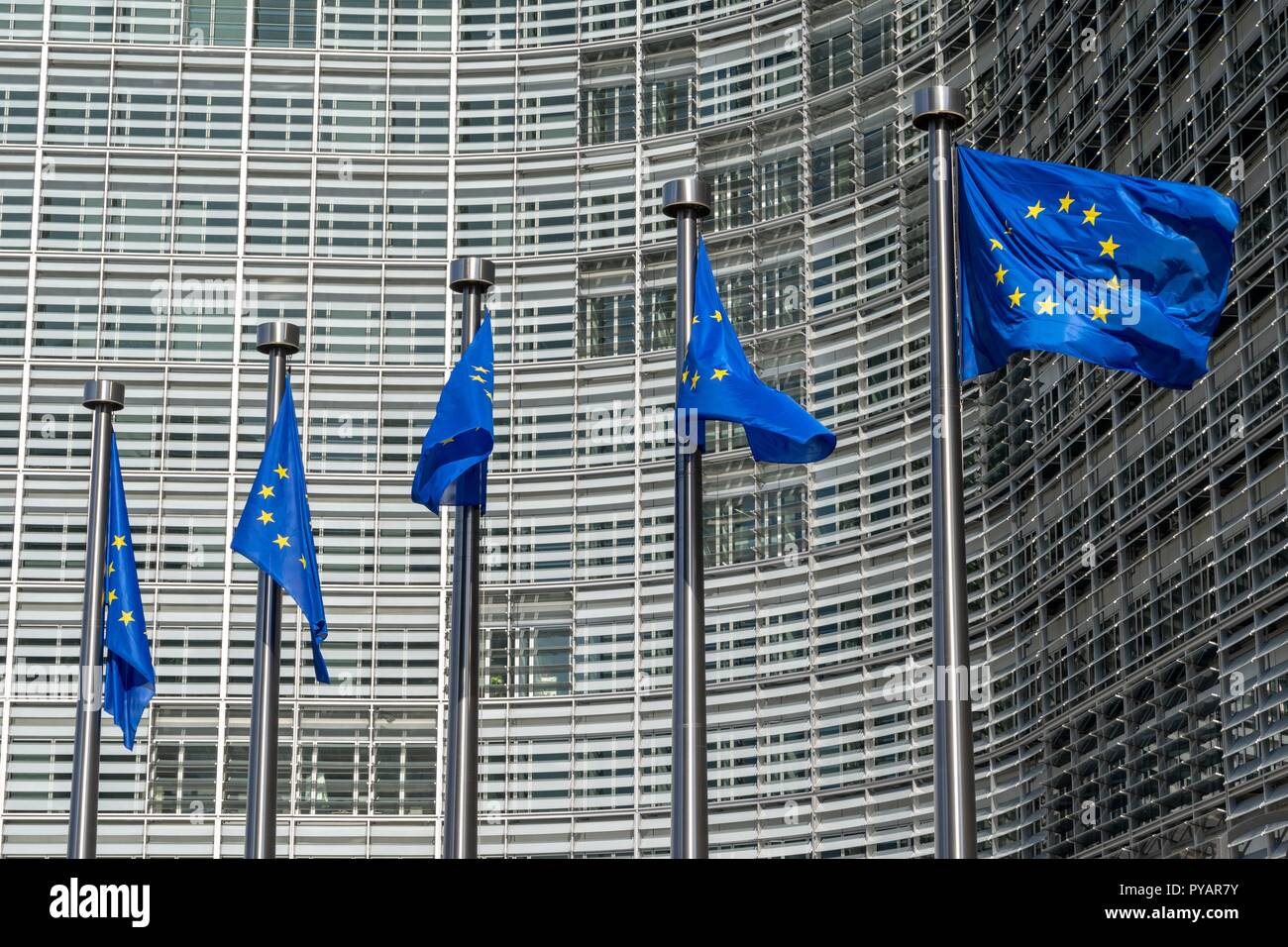 Belgium: European flags in front of European Commission in Brussels. Photo from 15. Mai 2015.   usage worldwide Stock Photo