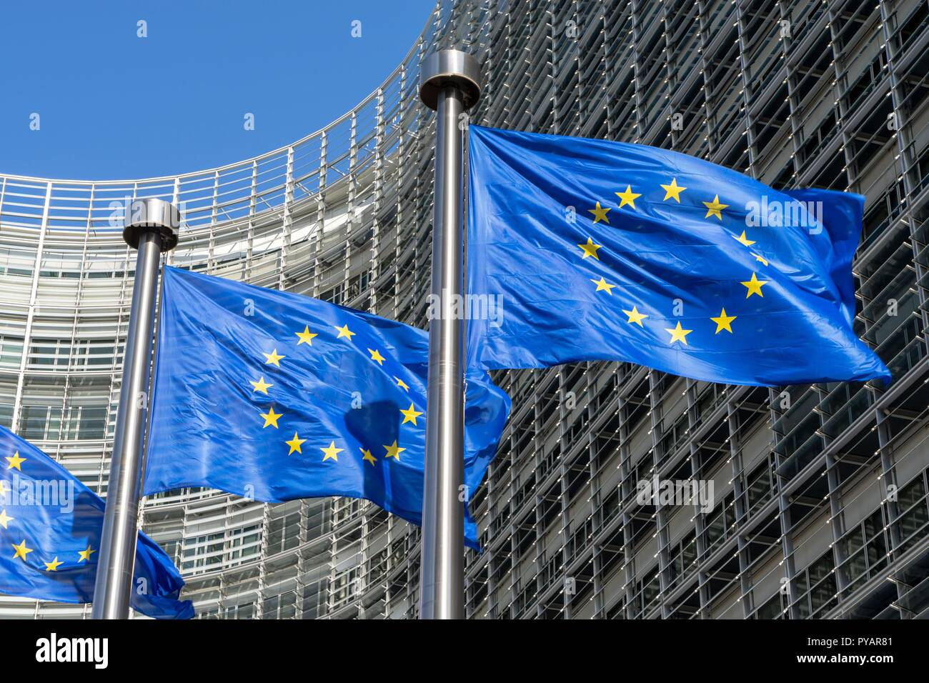 Belgium: European flags in front of European Commission in Brussels. Photo from 15. Mai 2015. | usage worldwide Stock Photo