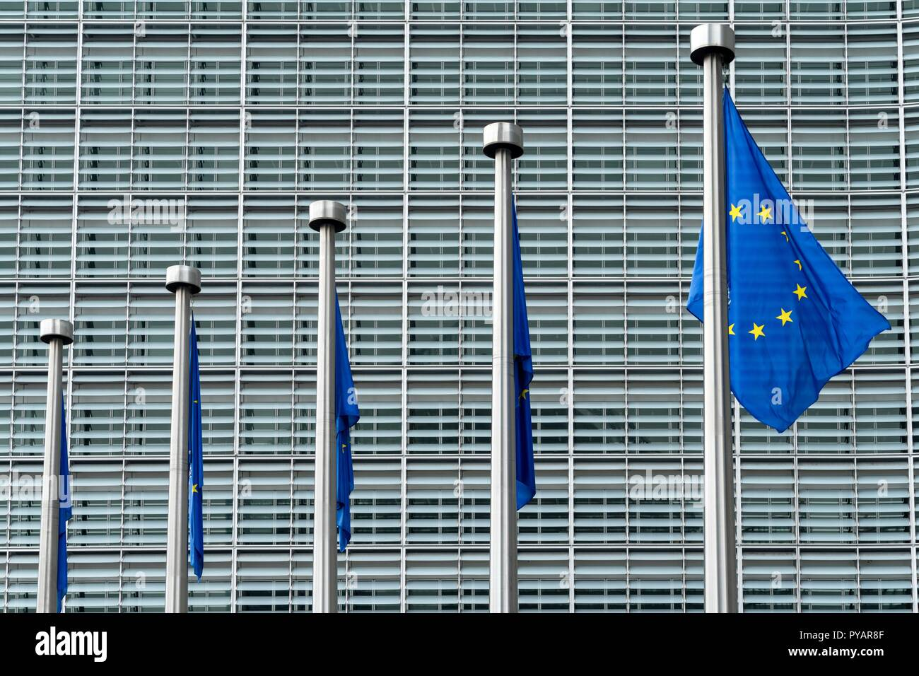 Belgium: European flags in front of European Commission in Brussels. Photo from 12. August 2017.   usage worldwide Stock Photo
