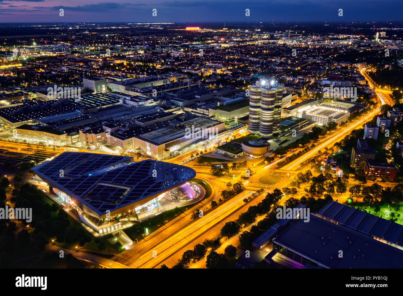Aerial view of BMW Museum and BWM Welt and factory. Munich, Germany - Stock Image