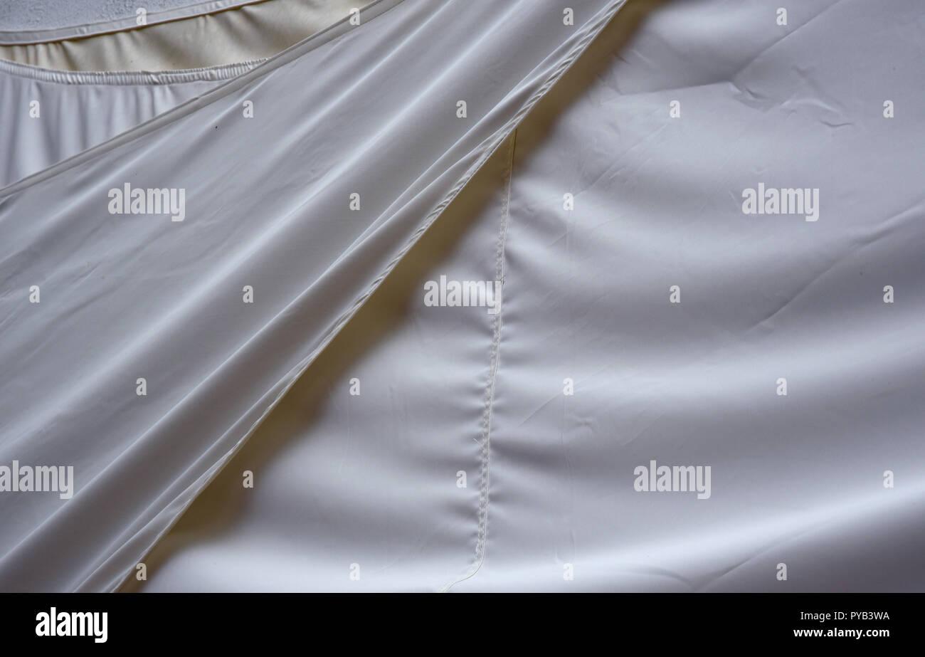 white canvas hanging - Stock Image