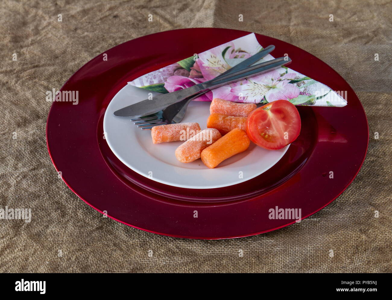 Leftovers on a plate with eating utensils image with copy space in landscape format - Stock Image