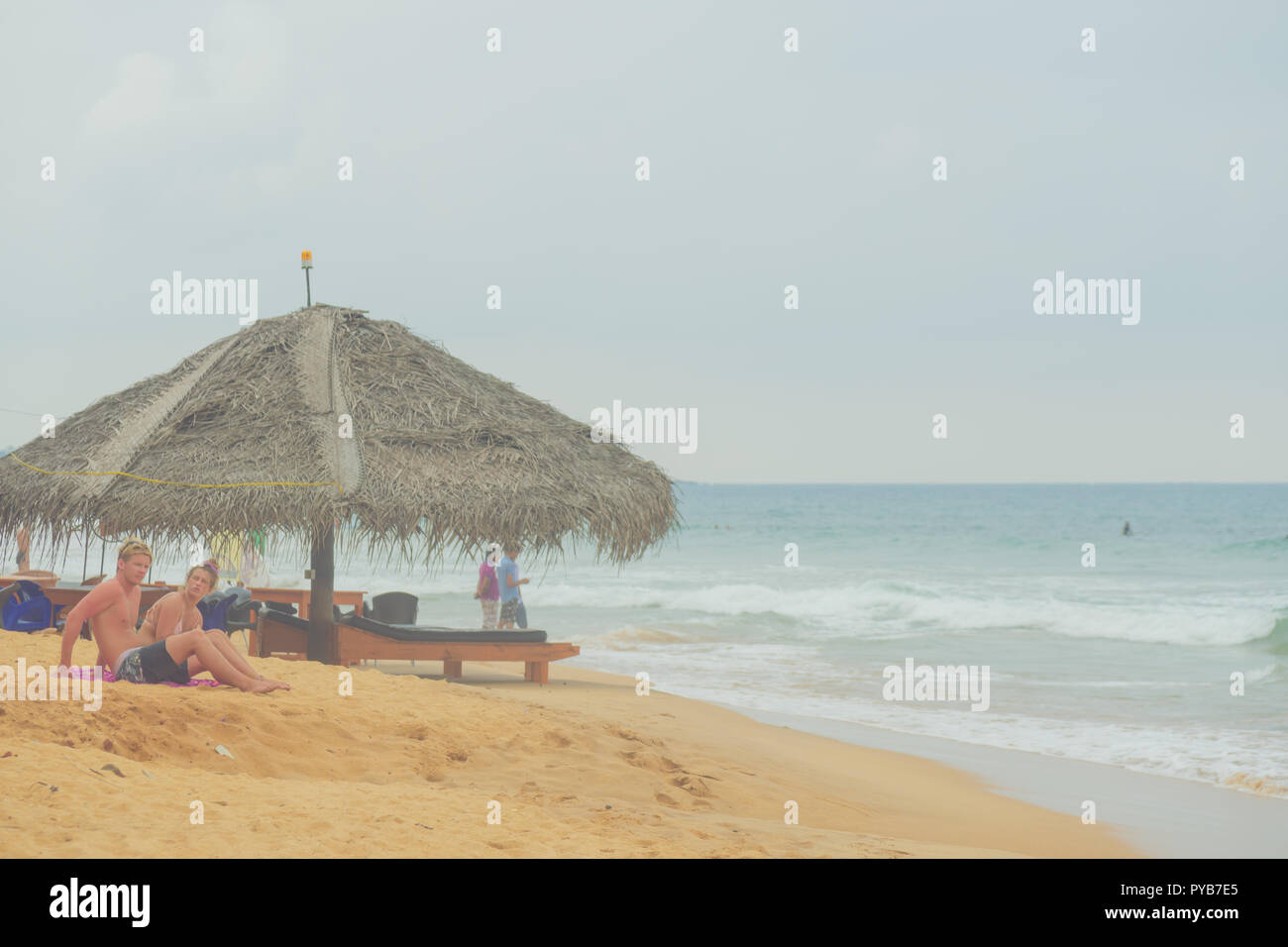 Palm trees, yellow sand and blue ocean in Sri Lanka. Stock Photo