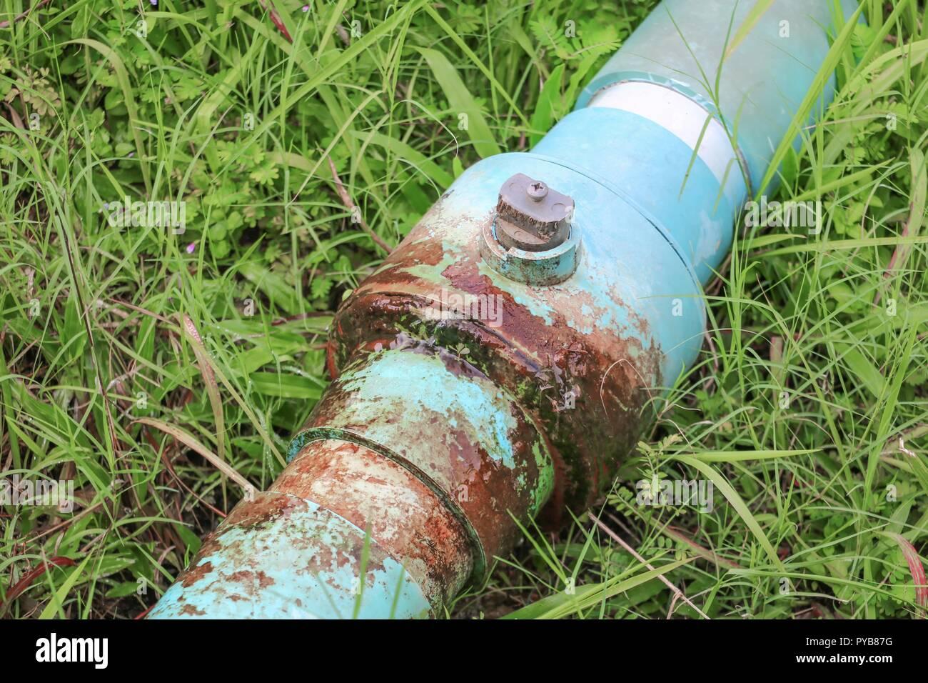 water valve  broken plumbing tube and  leak at  wait repair plumber - Stock Image