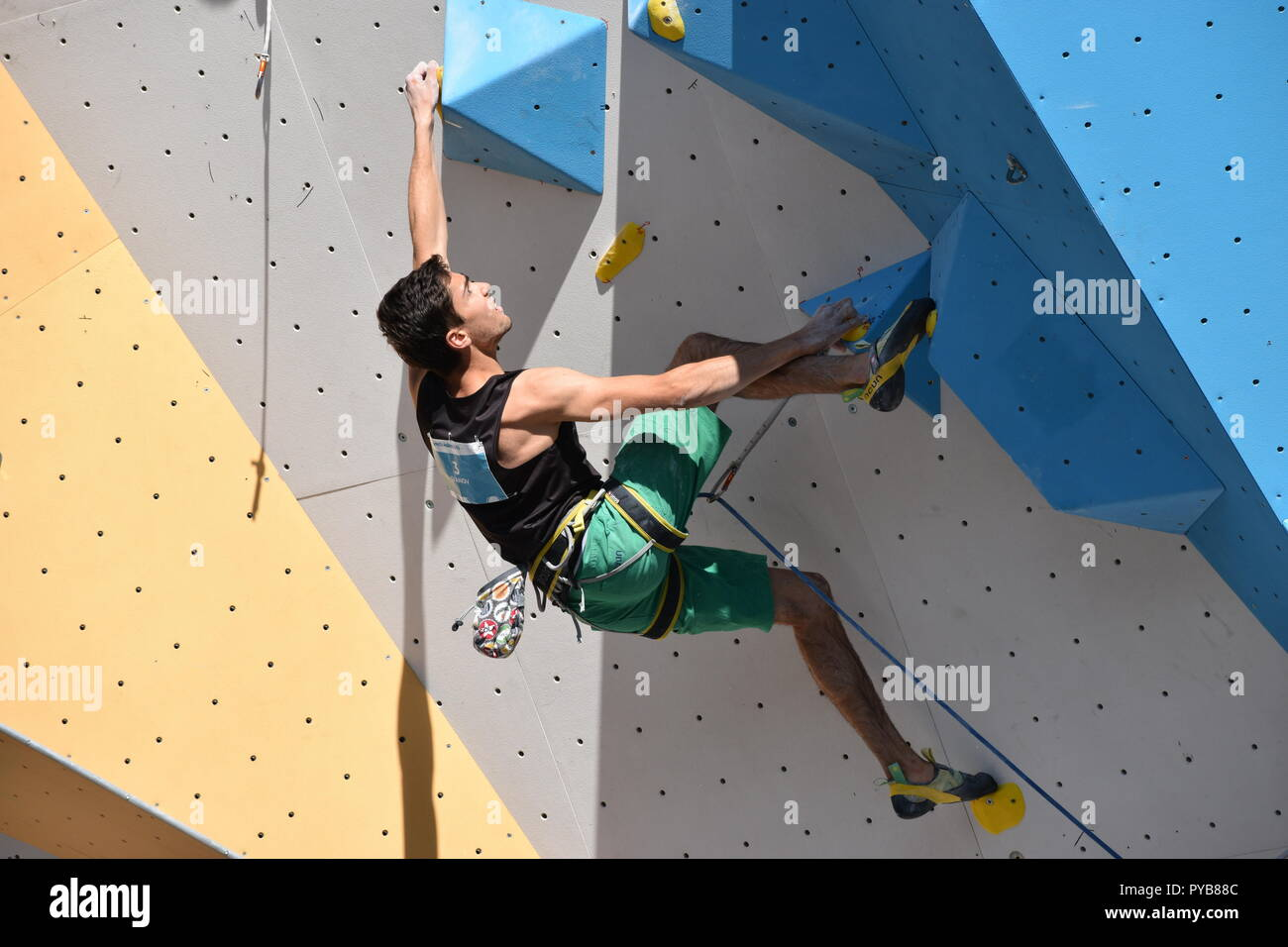 Bulgarian climber Petar Ivanov at Buenos Aires 2018 Youth Olympic Games sport climbing contest climbing up the lead wall - Stock Image
