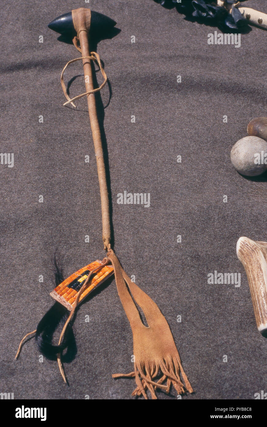 Native American stone & beaded implement, living history display at Fort Mandan, North Dakota. Photograph - Stock Image