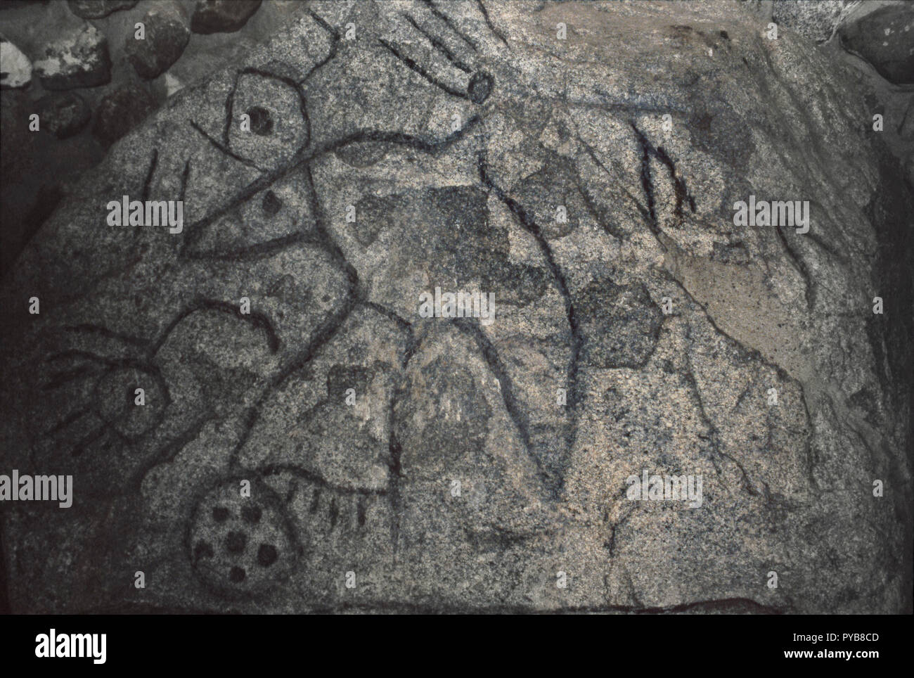 Writing Rock, Native American petroglyphs on granite, northwestern North Dakota. Photograph - Stock Image