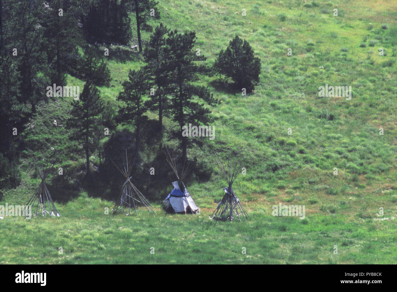 Sioux tipi and frames on the Cheyenne River, Black Hills, South Dakota, used in movie 'Crazy Horse.' Photograph - Stock Image