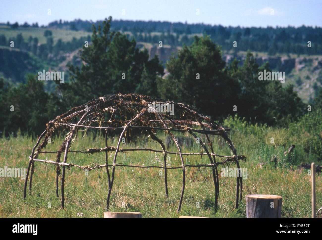Framework of Sioux sweat lodge, Black Hills South Dakota. Photograph - Stock Image