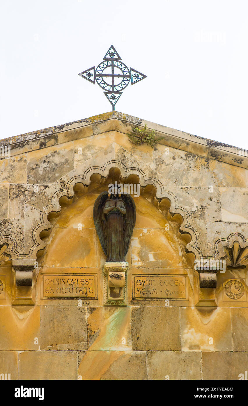 The Star of the Church of St Ann at the ancient site of the Pool of Bethesda in Jerusalem Israel. The ornate stonework is a distinctive achitectural f - Stock Image