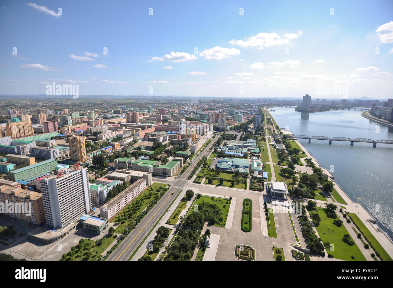 New cityscapes emerge in Pyongyang as money is drawn from the atomic test sites an nuclear labs to the people and the city itself - Stock Image
