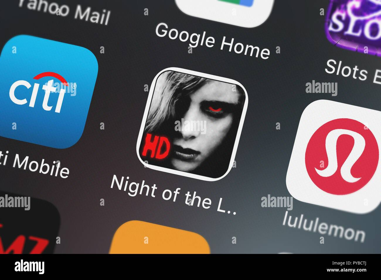 London, United Kingdom - October 26, 2018: Screenshot of the mobile app Night of the Living Dead Defense from MindJolt. Stock Photo
