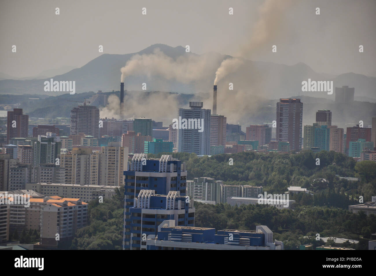 Although a lot brighter, Pyongyang still is seen as the darkest capital of the world. Old coal burning power plants from the communist era still pollu - Stock Image