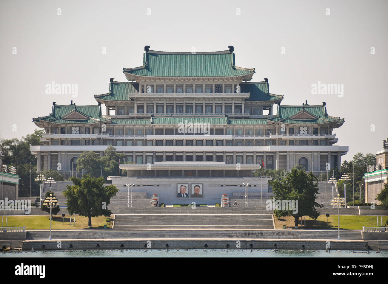 The Kim Il Sung palace is the place where the big military parades and speeches are being held. So on the 70. anniversary of the DPRK - Stock Image