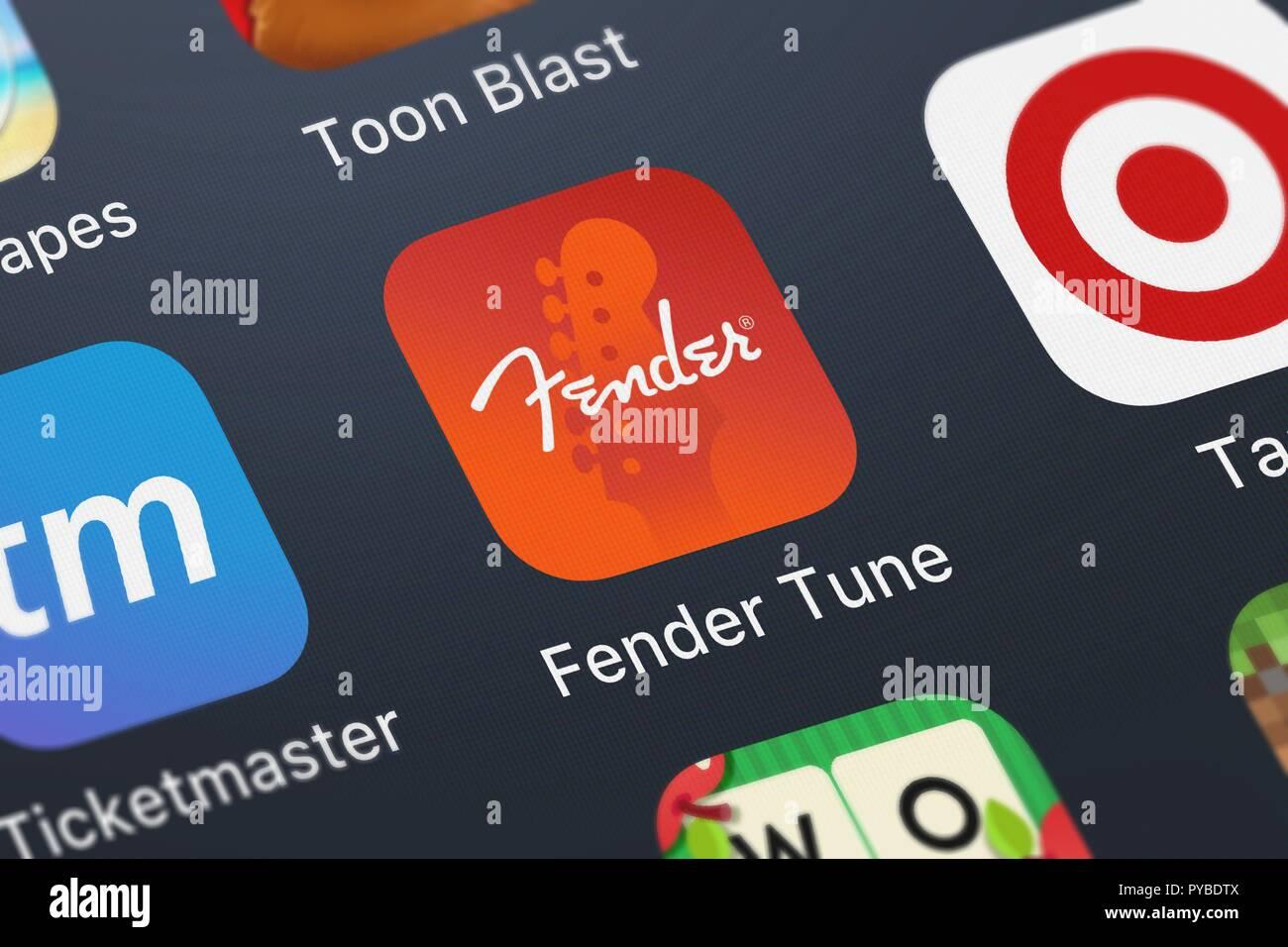 London, United Kingdom - October 26, 2018: Screenshot of Fender Digital's mobile app Fender Tune - Guitar Bass Uke. - Stock Image