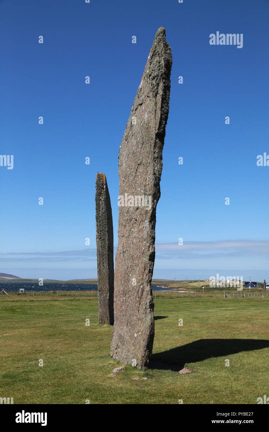 Part of the Standing Stones of Stenness, a Neolithic monument on the Mainland of the Orkney Islands, Scotland - Stock Image