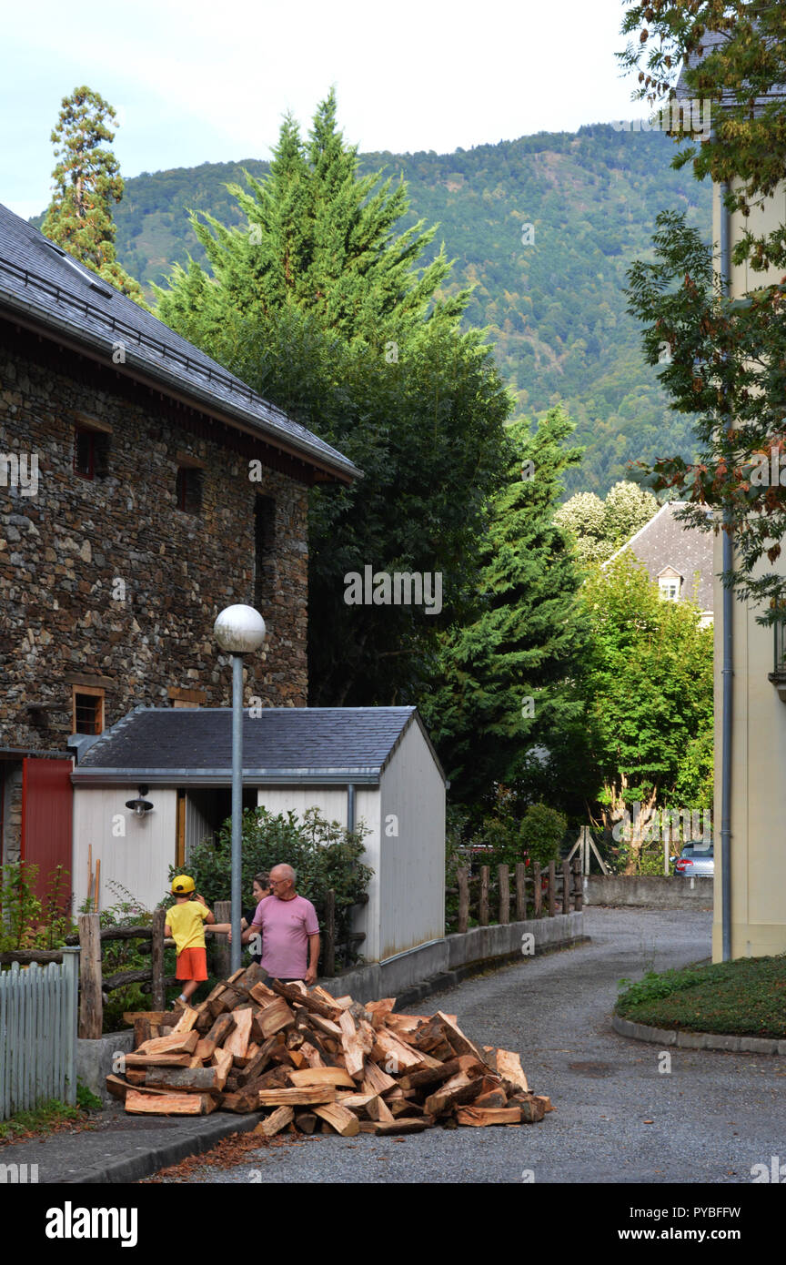 Luchon Frankreich 08th Sep 2018 Firewood For The Winter Is In Front Of A Stone House Bagneres De French Pyrenees
