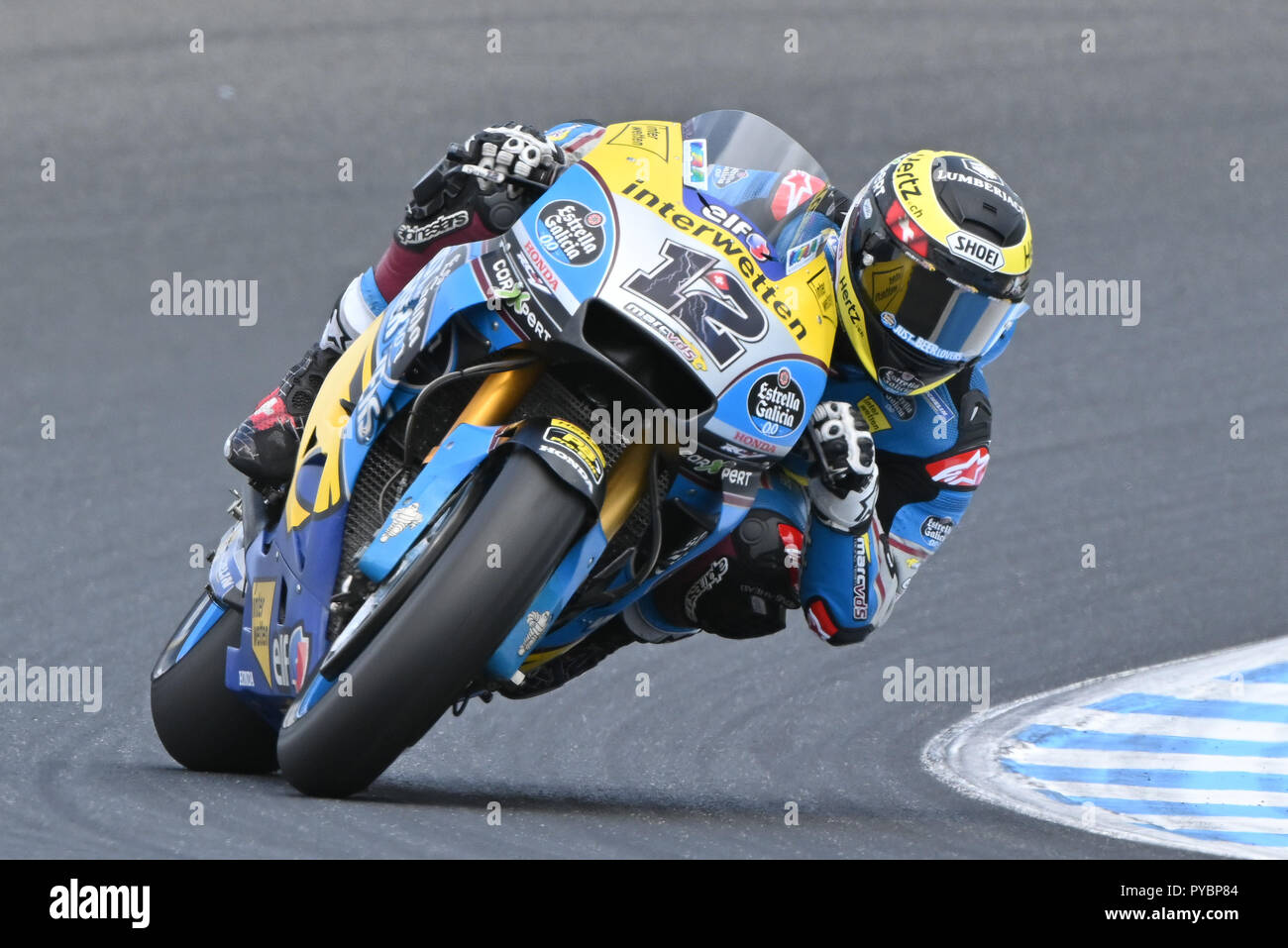 Melbourne, Australia. 27 October 2018.  Thomas Luthi (SWI) on the No.12 Honda from Eg 0, 0 Marc Vds during practice session three at the 2018 MotoGP of Australia at Phillip Island Grand Prix Circuit, Victoria, Australia. Sydney Low/Cal Sport Media Credit: Cal Sport Media/Alamy Live News Stock Photo