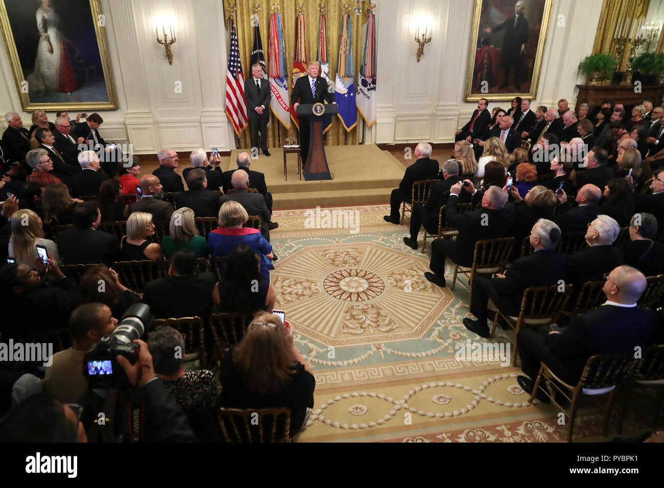 Washington DC, USA  26th Oct, 2018  United States President Donald J
