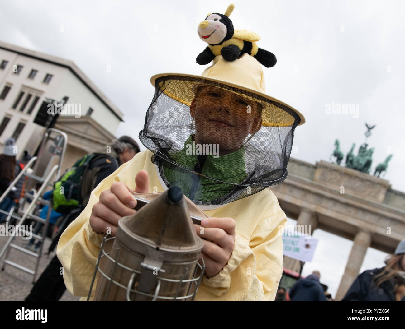 Berlin, Germany. 27th Oct, 2018. Ten-year-old Noah from Arnsberg wearing a beekeeper's protective suit and standing at a protest rally for sustainable agricultural subsidies of the 'we have enough' alliance at the Brandenburg Gate with the motto 'Make steam for bee-friendly agriculture'. Credit: Paul Zinken/dpa/Alamy Live News - Stock Image
