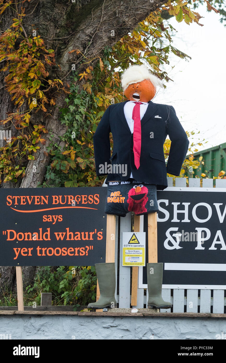 Donald Trump 'Donald whaurs yer troosers' humorous spoof pumpkin scarecrow model, Arnprior, Stirlingshire, Scotland, UK - Stock Image