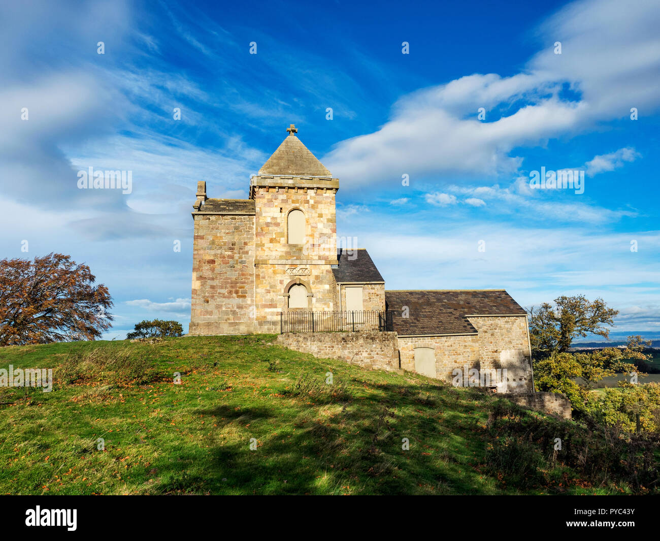 How Hill Tower built on the site of the Chapel of Saint Michael de Monte near Ripon North Yorkshire England - Stock Image