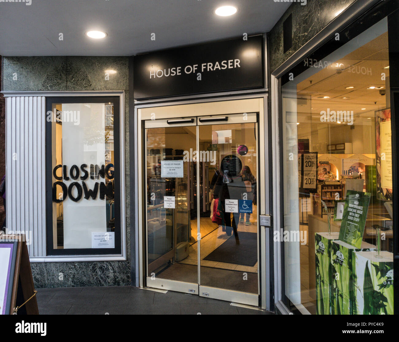 House of Fraser department store Exeter, due to close in January 2019. - Stock Image