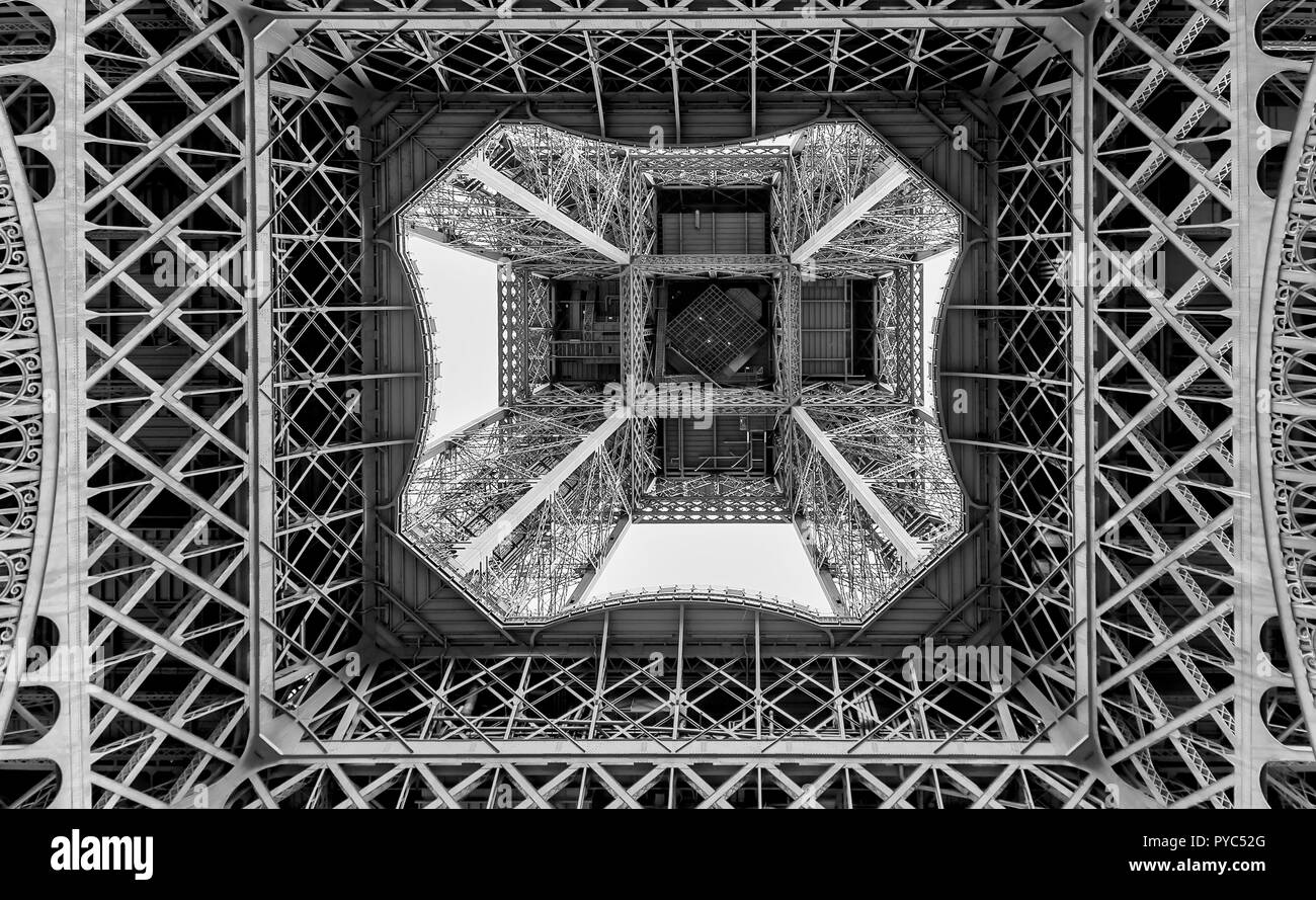 Black and white graphic image of the Eiffel Tower seen from below, Paris, France - Stock Image