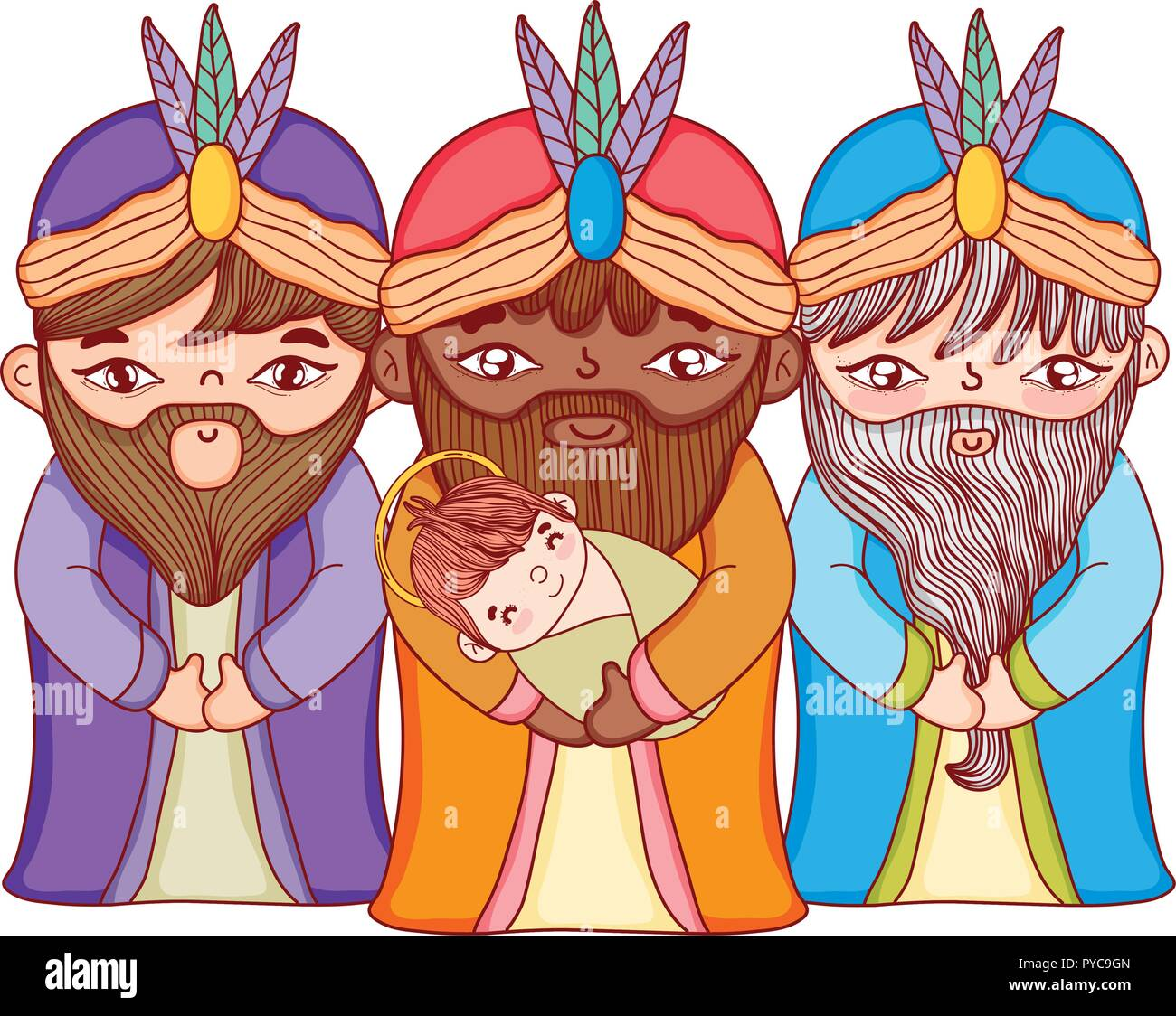 Christmas nativity scene cartoon - Stock Vector