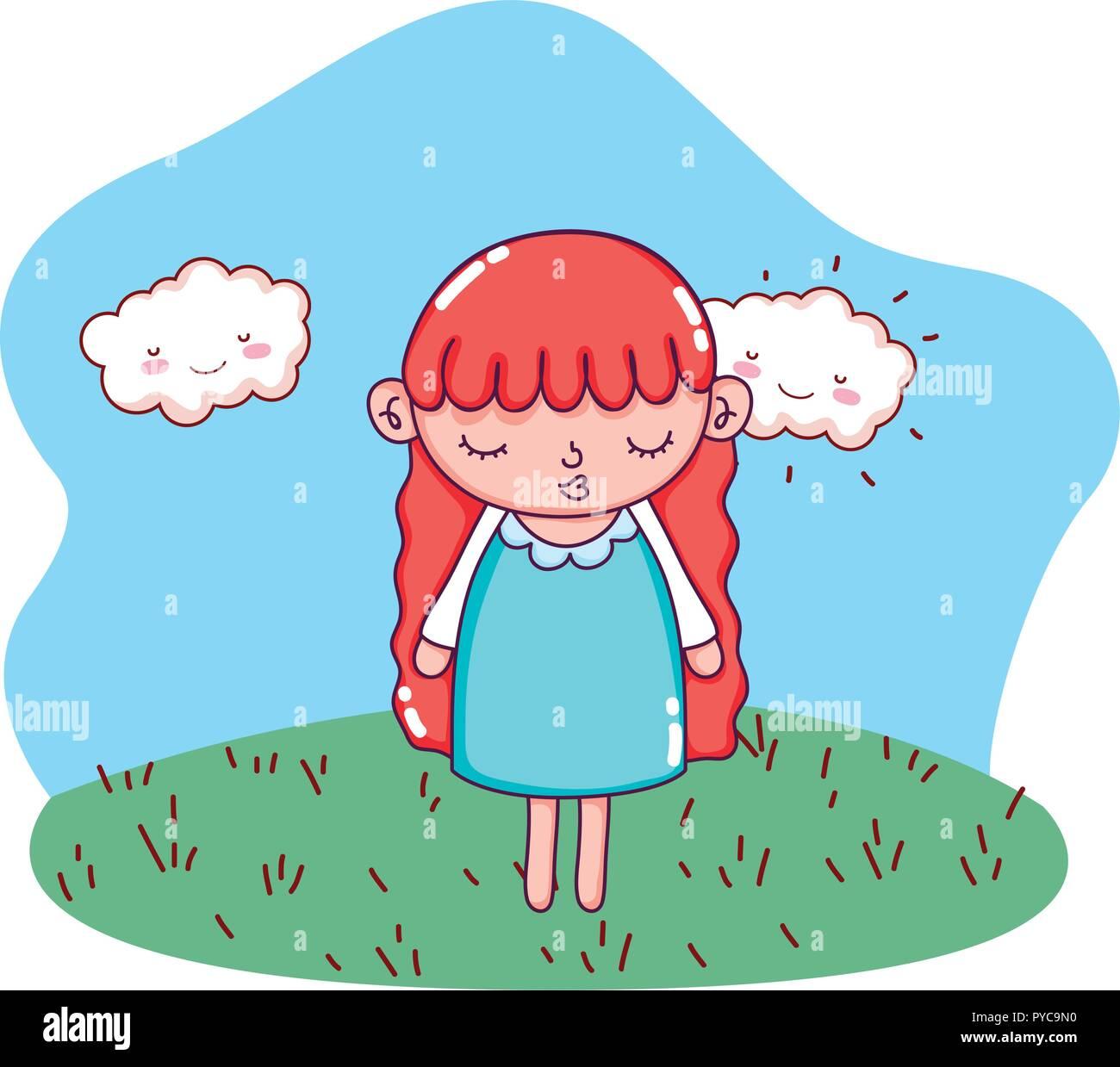 young girl cartoon - Stock Vector