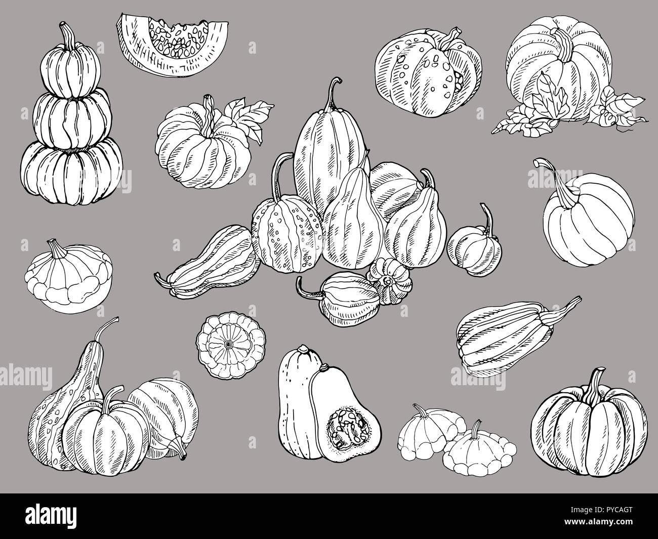 Set of hand drawn sketch style isolated pumpkins. Vector illustration. - Stock Vector