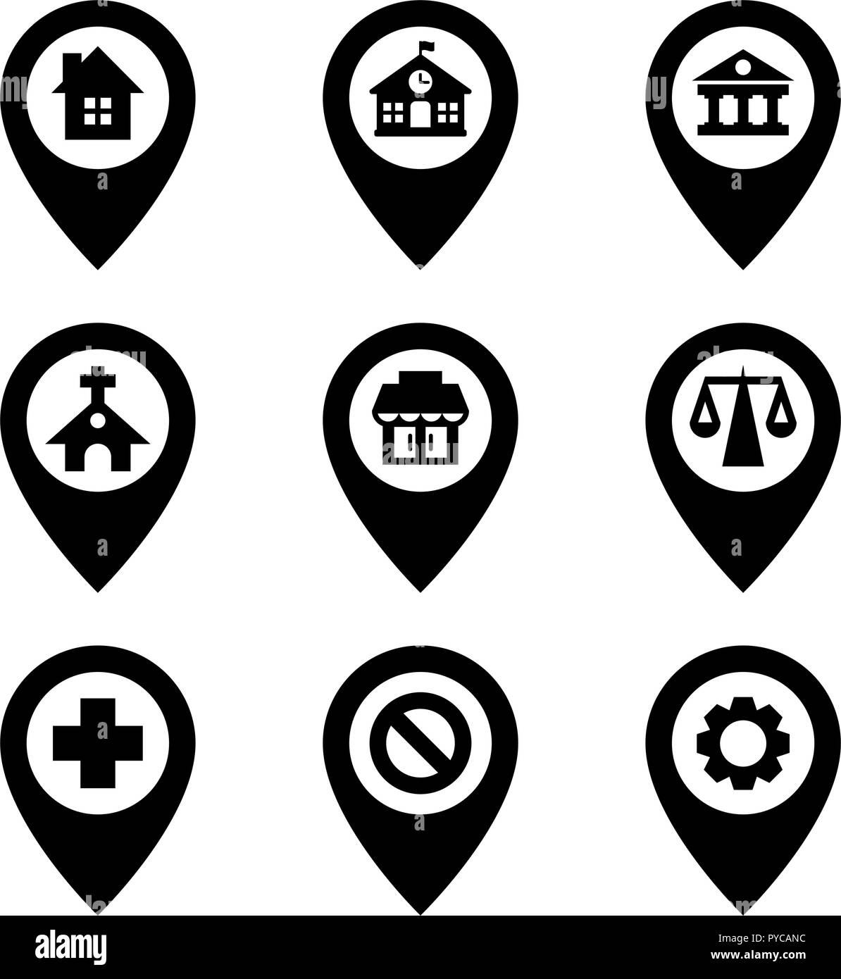 Map Pins City Places - Stock Image