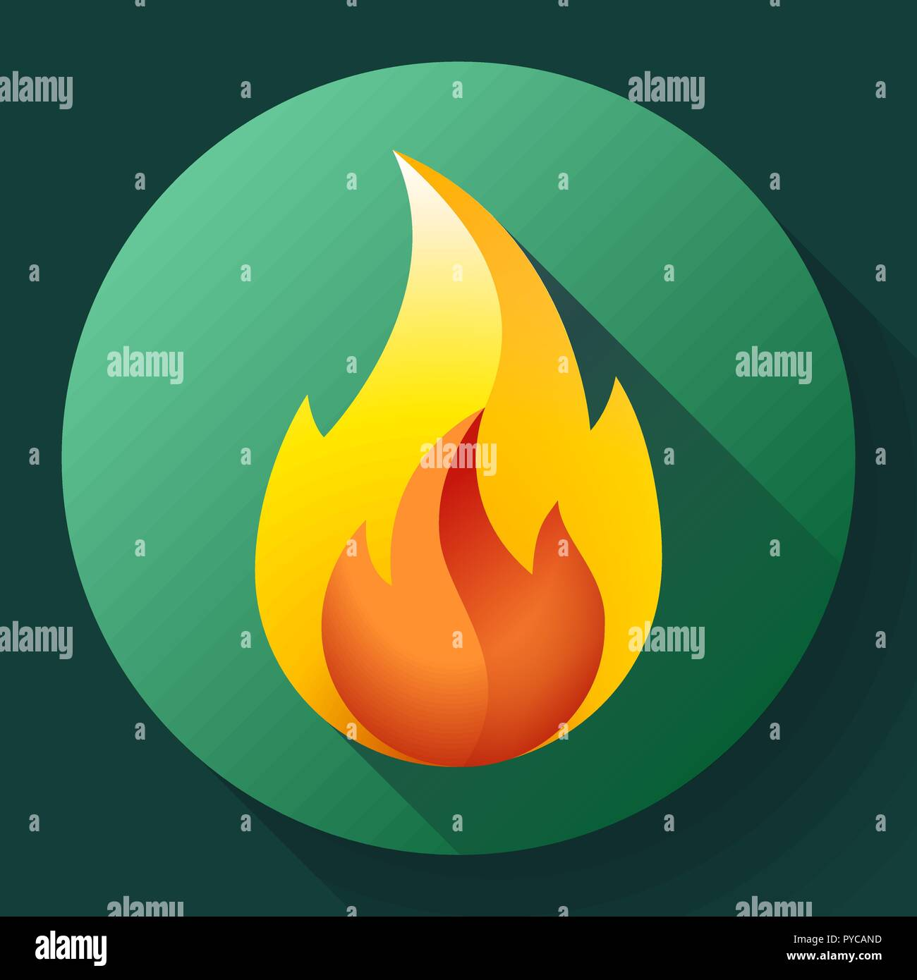 Red fire flame icon vector logo illustration - Stock Image