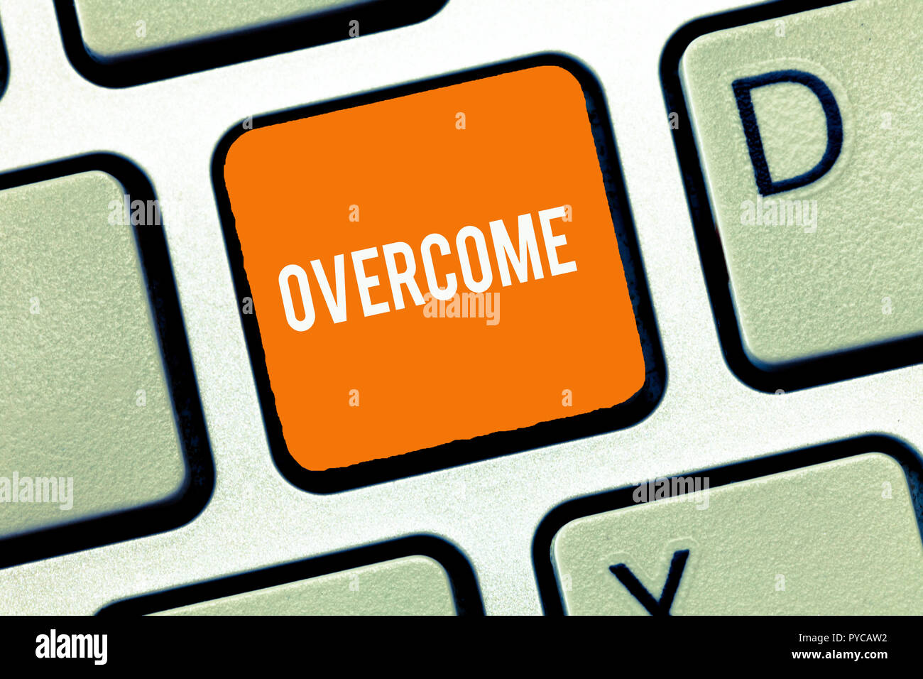 Text sign showing Overcome. Conceptual photo succeed in dealing with problem or difficulty defeat opponent. - Stock Image
