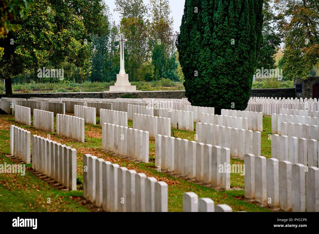 Brown's Copse war cemetery near Arras in France - Stock Image