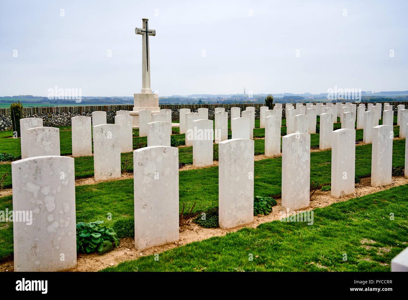 Sunken Road war cemetery near Fampoux, Arras, France - Stock Image