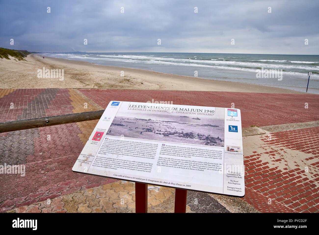 Bray Dunes at Dunkirk France, where many Allied soldiers waited for a boat home in 1940 - Stock Image