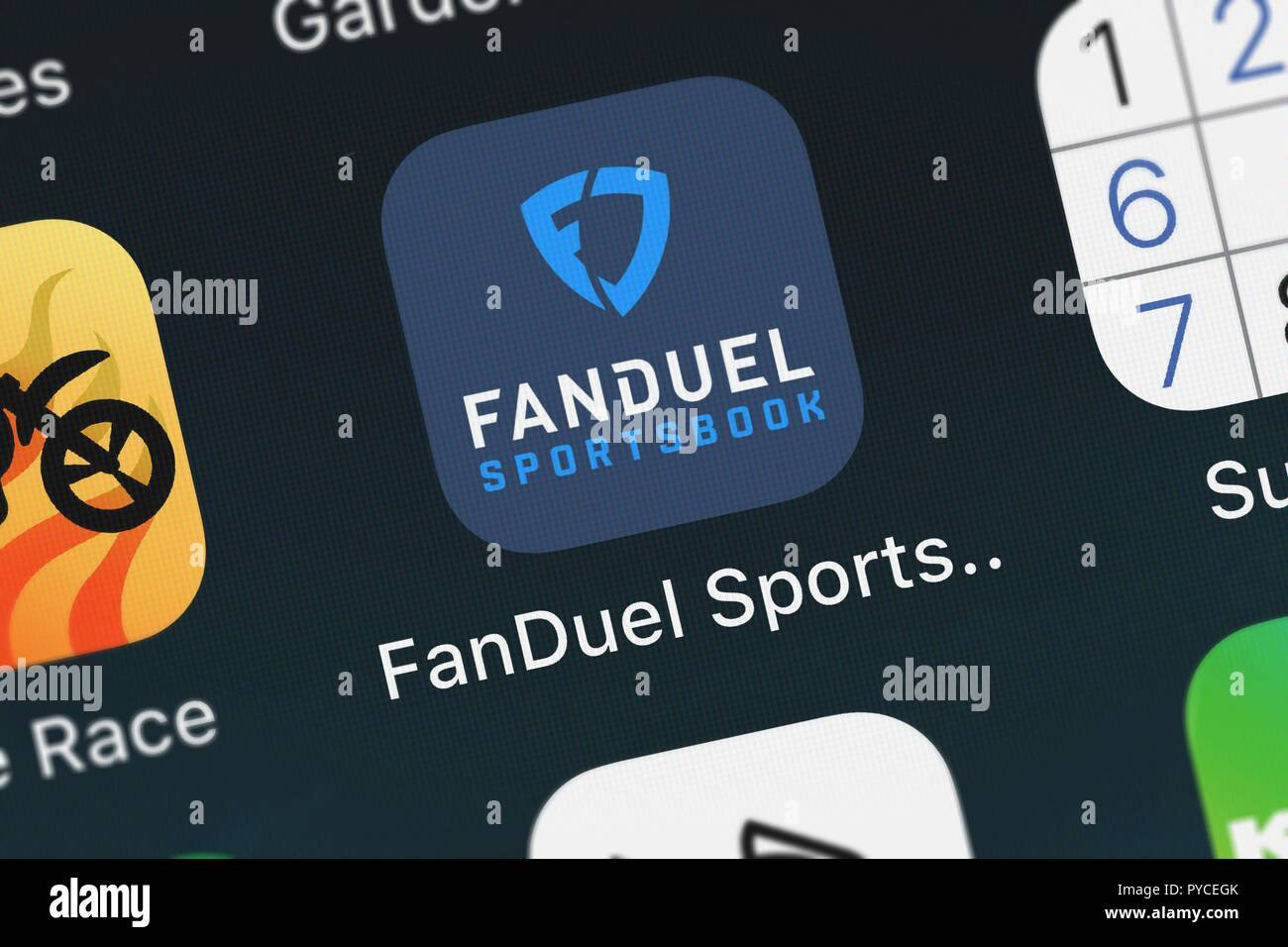 London, United Kingdom - October 26, 2018: Close-up shot of FanDuel, Inc.'s popular app FanDuel Sportsbook. Stock Photo