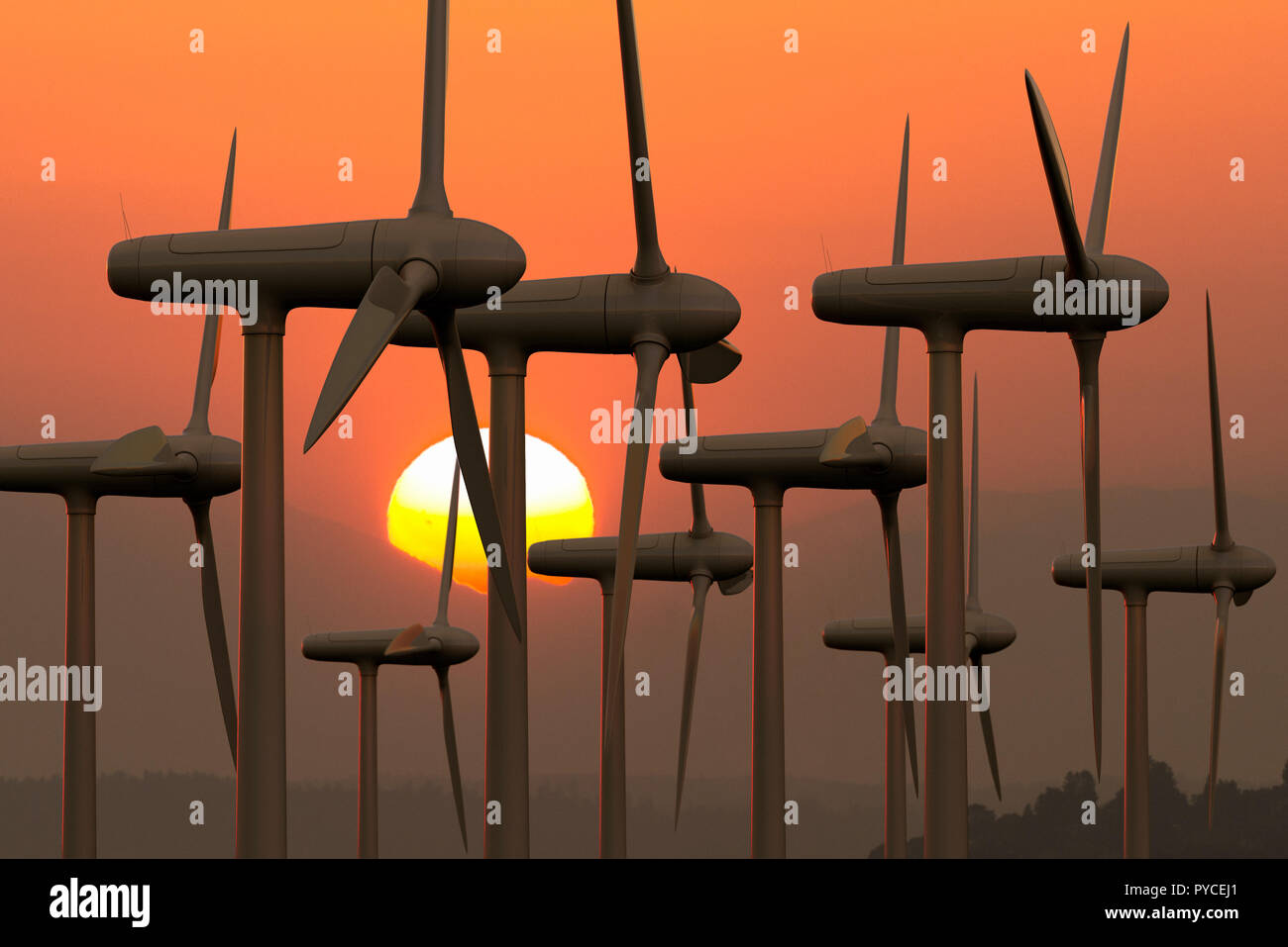 3D rendering of a wind farm at sunset - Stock Image