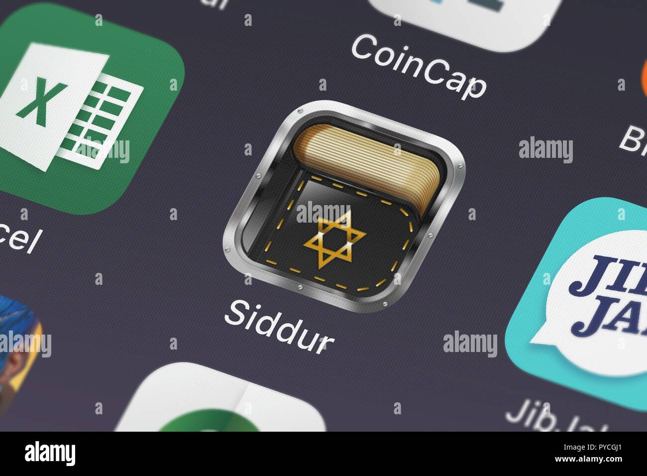 London, United Kingdom - October 26, 2018: Close-up shot of the Siddur - Special Edition סדור application icon from Pop-ok.com on an iPhone. - Stock Image