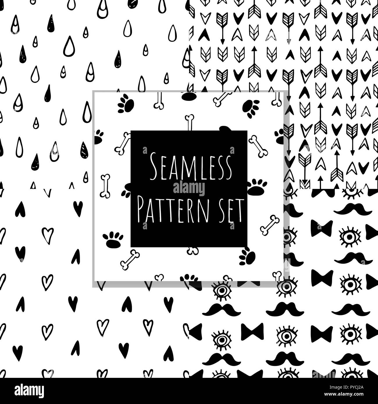 Monochrome seamless pattern collection. Hand drawn vector doodle backgrounds set. - Stock Image