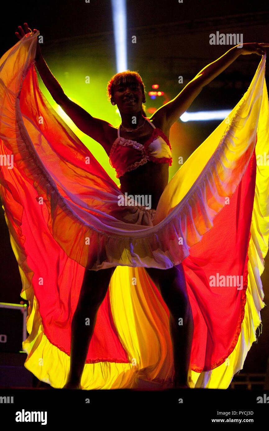 Sega dancers performing on closing night of the 2013 Kreol Festival, Mauritius. - Stock Image